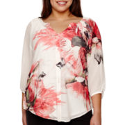 Alyx® 3/4-Sleeve Sublimation Peasant Top - Plus