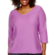 Liz Claiborne® 3/4-Sleeve V-Neck Shadow Striped T-Shirt - Plus