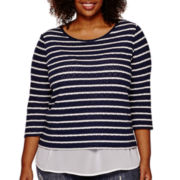 Liz Claiborne® 3/4-Sleeve Striped Layered Shirt - Plus