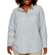 Liz Claiborne® Long-Sleeve Button-Front Tunic - Plus