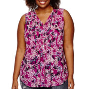 Liz Claiborne® Sleeveless Pintuck Blouse - Plus