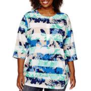 Liz Claiborne® 3/4-Sleeve Scoopneck Henley Shirt - Plus