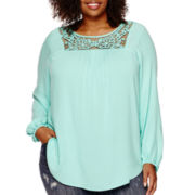 Liz Claiborne® Long-Sleeve Crochet Lace Peasant Top - Plus