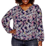 Liz Claiborne® Long Sleeve Pintuck Peasant Top