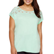 a.n.a Short-Sleeve Lace Yoke T-Shirt - Plus