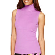 Liz Claiborne® Sleeveless 2X2 Ribbed Turtleneck Top - Tall