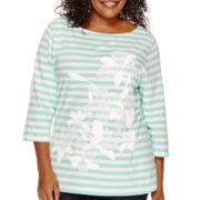 St. John's Bay® 3/4-Sleeve Lace Applique T-Shirt - Plus