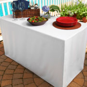 Fresh Ideas™ Floor Length Outdoor Tablecloth for Folding Table