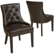 Lincoln Set of 2 Tufted Bonded Leather Dining Chairs