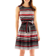 Robbie Bee® Sleeveless Belted Striped Fit-and-Flare Dress