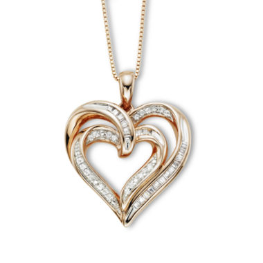 jcpenney.com | ¼ CT. T.W. Diamond Double-Heart Pendant Necklace