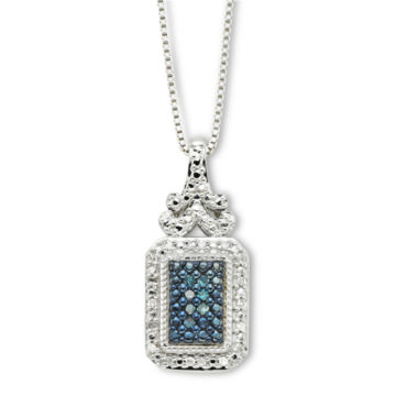 jcpenney.com | Sterling Silver 1/10 CT. T.W. White & Color-Enhanced Blue Diamond Pendant Necklace