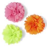 Okie Dokie® 3-pk. Neon Flower Clips