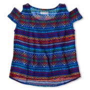 Sally M™ Sally Miller Open-Shoulder, Tribal-Print Chiffon Top - Girls 6-16