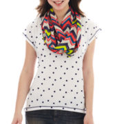Self Esteem® Layered Tee with Patterned Infiniti Scarf