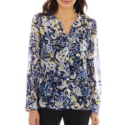 Liz Claiborne® Long-Sleeve Print Tunic Blouse with Cami - Petite