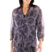 Lark Lane® Geometric Chic Leaf Print Button-Front Blouse with Cami
