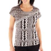 Lark Lane® Geometric Chic Patchwork Print Embellished Knit Top