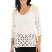 Lark Lane® Geometric Chic Open-Weave Sweater