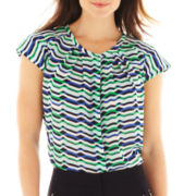 Worthington® Pleat-Neck Button-Front Blouse