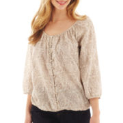 St. John's Bay® 3/4-Sleeve Button-Front Peasant Top - Tall