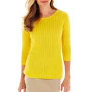 Liz Claiborne 3/4-Sleeve Boatneck Sweater