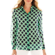 Liz Claiborne Long-Sleeve Button-Front Dot Blouse