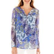 Liz Claiborne® Long-Sleeve Woven Shirt with Cami