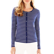 Liz Claiborne Striped Knit Cardigan Sweater - Tall