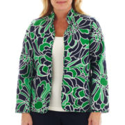 Alfred Dunner® Greenwich Circle Graphic Floral Print Quilt Jacket - Plus
