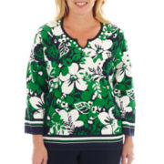 Alfred Dunner® Greenwich Circle Border-Striped Floral Print Sweater - Plus