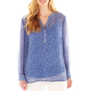 Liz Claiborne Long-Sleeve Woven Henley Top with Cami - Plus