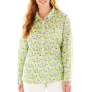 Liz Claiborne Long-Sleeve Popover Blouse - Plus