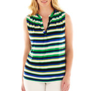 Worthington® Sleeveless Split-Neck Knit Top - Plus