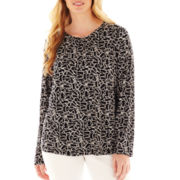 Liz Claiborne Long-Sleeve Shirred Tee - Plus