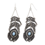 Decree® Aqua Stone Feather Earrings