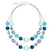 Monet® Blue Stone Silver-Tone Two-Row Necklace