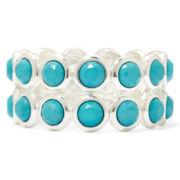 Liz Claiborne® Aqua Stone 2-Row Stretch Bracelet