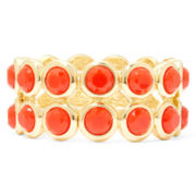 Liz Claiborne® Orange Stone 2-Row Stretch Bracelet
