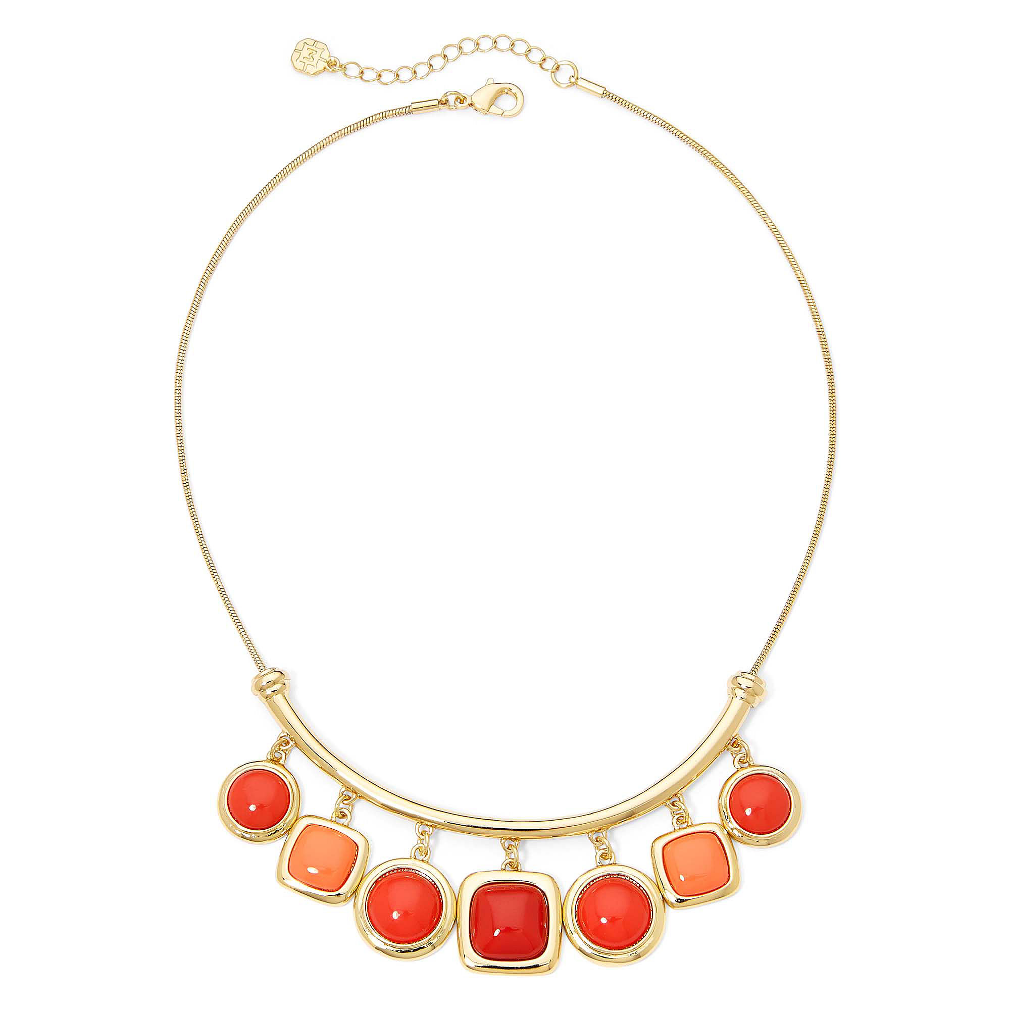 Monet Coral and Red Stone Gold-Tone Shower Necklace