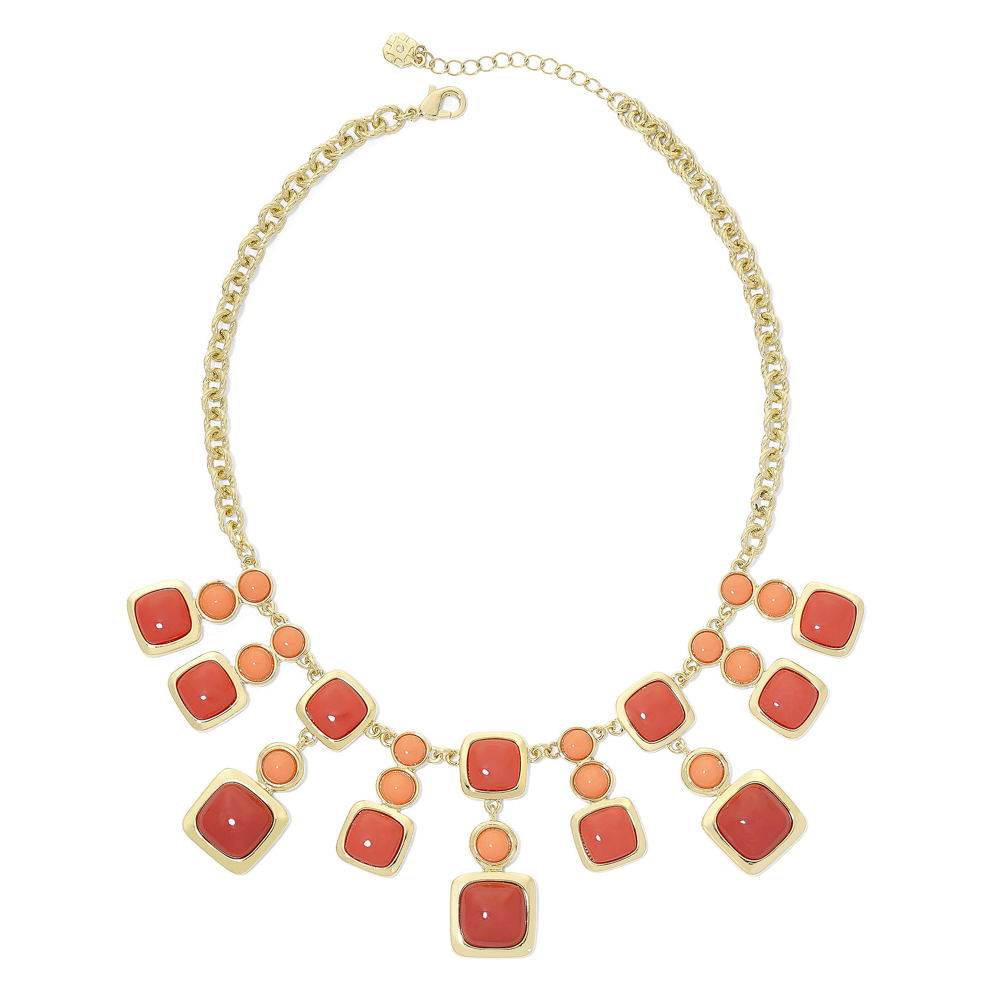 Monet Coral and Red Stone Gold-Tone Drama Necklace