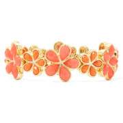 Liz Claiborne® Orange Stone Flower Stretch Bracelet