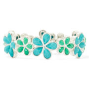 Liz Claiborne® Blue Stone Flower Stretch Bracelet