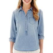 Stylus™ Long-Sleeve Denim Popover Shirt- Petite