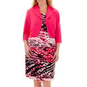 Dana Kay 3/4-Sleeve Print Jacket Dress - Plus