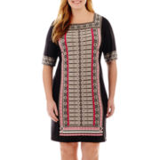 Studio 1® Elbow-Sleeve Print Sheath Dress - Plus