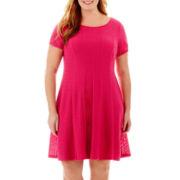 RN Studio by Ronni Nicole Short-Sleeve Seersucker Knit Dress - Plus
