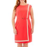 Studio 1® Sleeveless Colorblock Front-Overlap Dress - Plus