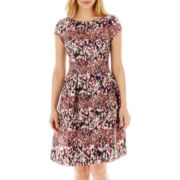 Danny & Nicole® Cap-Sleeve Shantung Fit-and-Flare Dress - Petite