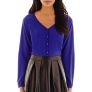 Worthington® Long-Sleeve Button-Front V-Neck Blouse - Tall
